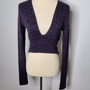 Wilfred free purple plunge neck long sleeve crop